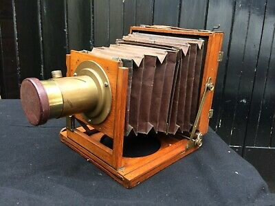Mahogany and Brass 1/2-Plate Camera with Lens but no Shutter