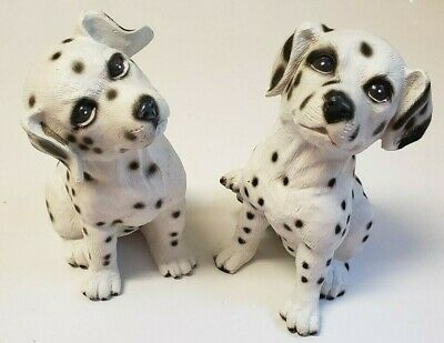 2 Dalmatian Puppies Gift Statues Figurines Decor Art - Big Black Eyes!  5 Inch