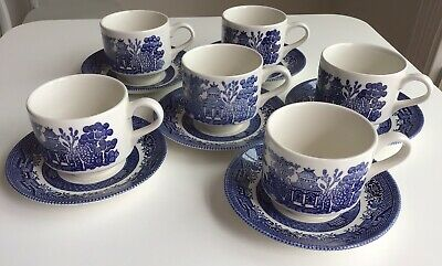 6 x Churchill Stacking Teacups And Saucers Blue & White Willow Pattern