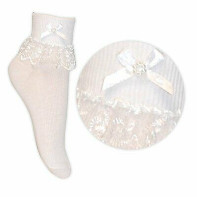 Baby, Infant & Junior Girls White Top Laced Frilly Ankle Socks With Bow detail