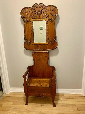 Antique Oak Hall Tree - Stand - Hat - Coat / Lift seat / beveled mirror