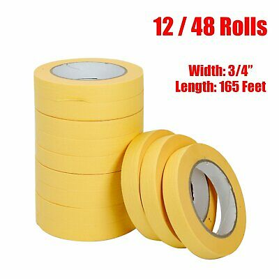06652 Crepe Paper Automotive Refinish Masking Tape 3/4 Inch 12, 48 Pack Yellow