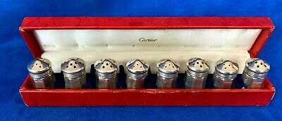 CARTIER SET OF EIGHT STERLING SILVER VINTAGE SALT & PEPPER SHAKERS with box
