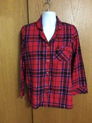 Womens Size M Victoria's Secret Red Plaid Long Sleeve Button Front Pajama Shirt