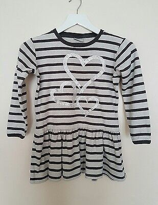 Next Girls Grey Stripes Cotton Top Tunic Pemplum  Sequin Age 10 years