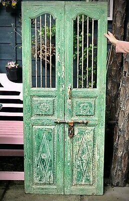 Antique Indian Jali Door. Carved Teak & Iron. Vintage Rajasthan. Jade & Vannila.