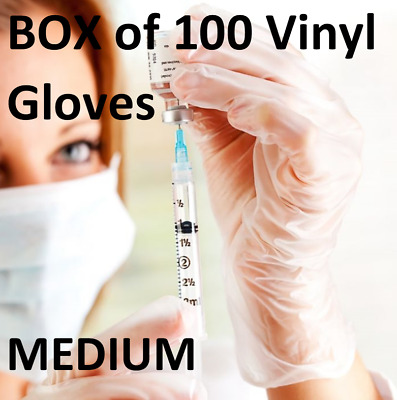 100 Disposable Clear Vinyl Gloves Powder & Latex Free Cleaning Spa Hair Salon