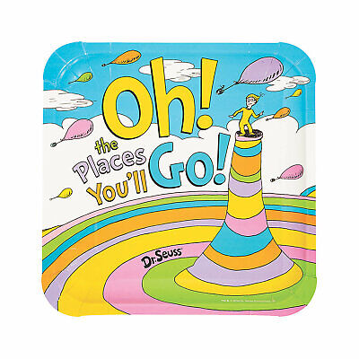 Dr. Seuss Oh The Places You'Ll Go Paper Dinner Plates - 8 Ct. - Party Supplies
