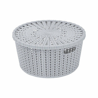 Grey Round Woven Storage Baskets With Lid - Educational - 4 Pieces