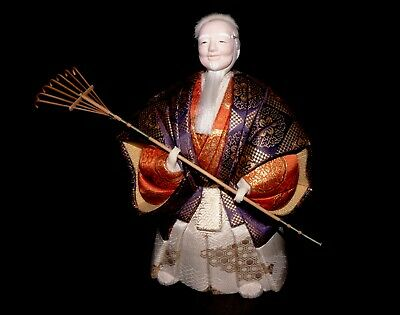 Kimekomi Ningyo Japanese doll old man Jo depicting a Noh play. Hand made.