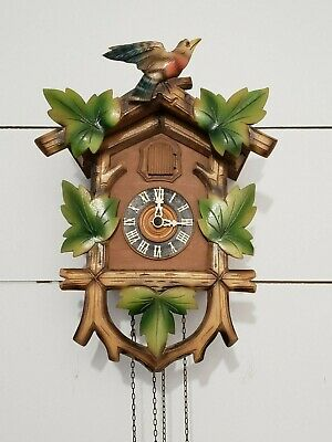 Unique GERMAN CUCKOO CLOCK HAND CARVED WITH Bird & LEAVES