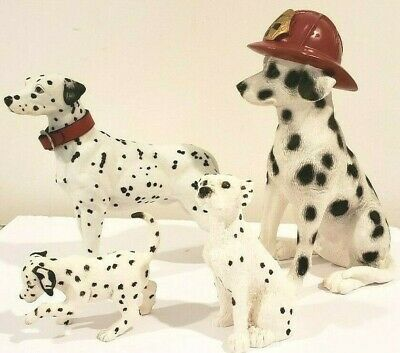 4 Dalmatian Gift Statues Figurines Decor Art Red Firehouse Hat
