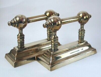Original Antique Polished Brass Andirons / Fire Dogs / Iron Rests / Door Stops