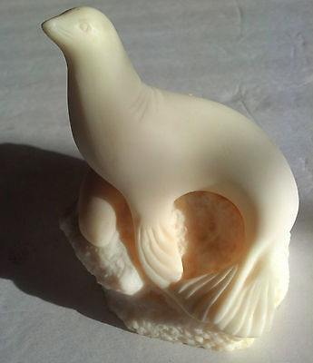 Vintage Seal and Baby Figurine Statue Sculpture Cream Ivory Colored