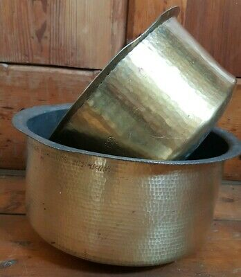 Indian Hammered Antique BRASS Metal Kitchen Heavy Cooking Pot 2 Available