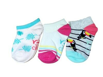 Baby Toddler Girls Cotton Ankle Trainer Summer Socks 3 Pairs Multi Buy 9M-3Y