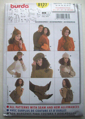 Caps hats mittens bags totes gloves dress pattern 8127 uncut
