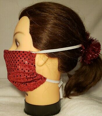 Face mask Red bling  Bling,  adjustable elastic. Pocket for filter