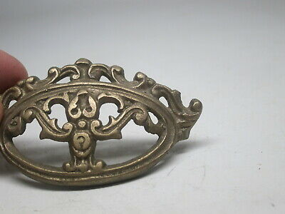 """Apothecary Drawer Cup Pull Handles Victorian Style Solid Brass 3"""" Scroll Ornate"""