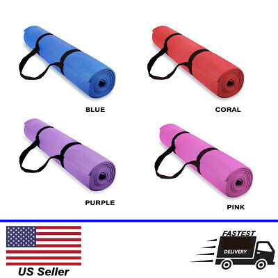 Yoga & Pilates Exercise mats with Carry Strap - 4mm Thickness - Fastest Shipping