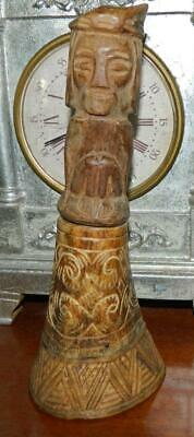 VINTAGE Mid century Hand Carved Celtic Wooden Statue with secret inner hollow
