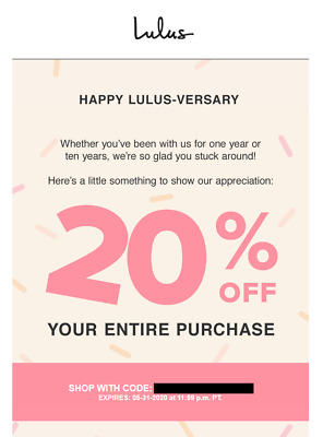 20% Off LULUS Entire Purchase (exp. 5/31/20) **QUICK DELIVERY*