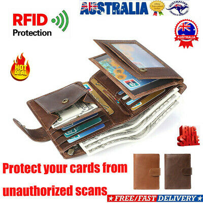 Fashion Mens RFID Blocking Genuine Leather Wallet Trifold Purse Coin Card ID AU