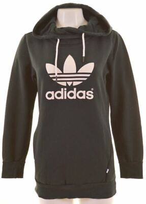 ADIDAS Womens Hoodie Jumper UK 10 Small Black Cotton  LP15