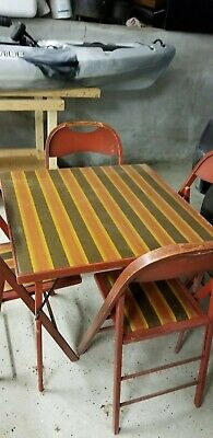 Vintage Antique Wooden Wood Folding Card Table and FOUR Wooden Folding Chairs