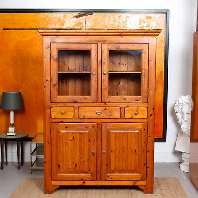 Vintage School Cupboard Pine Glazed Bookcase Display Cabinet Dresser