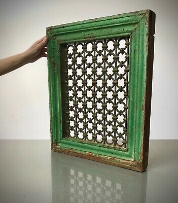 Antique Indian Jali Screen. Large Teak & Iron Pierced Screen. Vintage Rajasthan.