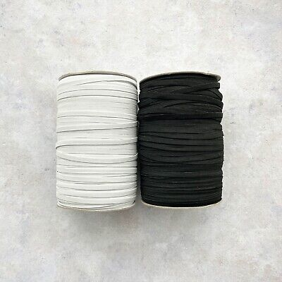 Elastic Black or White 6mm 1/4 inch width 8 cord for masks and sewing