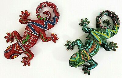"Set Of 2 Sparkling Talavera Geckos 4 1/2"" Long Resin Red & Green"