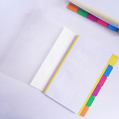 """Divider Sticky Notes 60 Index Tabs Note Pads 4 X 6"""" Assorted Neon Colors Borders"""