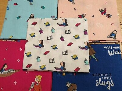 100/% Cotton Fabric Roald Dahl Matilda Miss Trunchbull School Patchwork