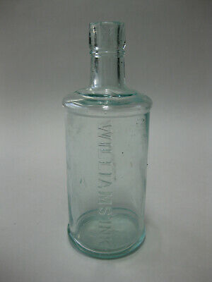 Antique Tall William's Ink Blue Glass Embossed Bottle with Spout