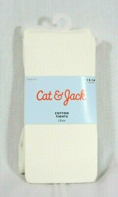 Girls Cat & Jack Almond Cream White Cotton Tights Size 12-14 Footed New Unopened