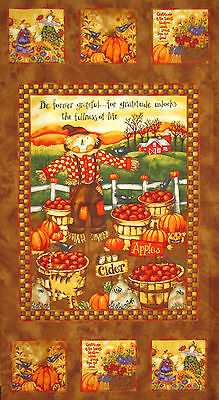 "Western Happy Fall Y/'all Autumn Harvest Pumpkin Fabric Panel  24/"" x 42/""   #C7863"