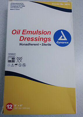 "Dynarex Oil Emulsion Wound Dressing 5""x9"" Box of 12"