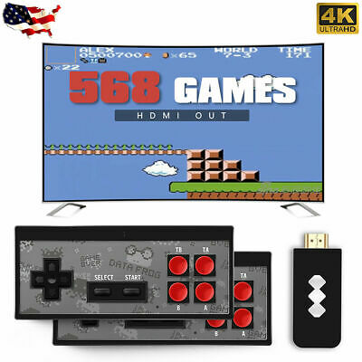 Retro Mini HDMI 4K TV Game 568 Built-in Games 2×Wireless Gamepad Stick Console
