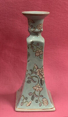 """Chinese Antique Famille Porcelain 8 3/4"""" Tall Hand Painted Candlestick Holder"""