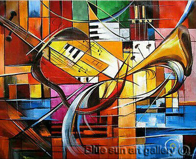 HandPainted Oil Painting Canvas Abstract Music Modern Contemporary Wall Art Deco