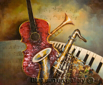 HandPainted Abstract Music Oil Painting Canvas Modern Wall Art Contemporary Deco