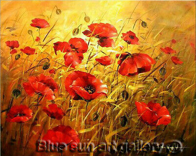 Modern HandPainted Abstract Poppy Flower Oil Painting Wall Art Canvas Home Decor