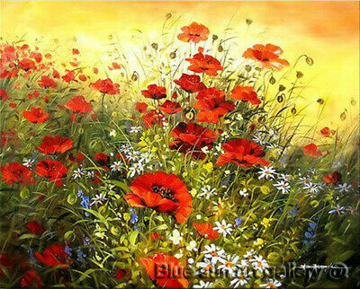 Modern Abstract Poppy Flower HandPainted Oil Painting Wall Art Canvas Home Decor