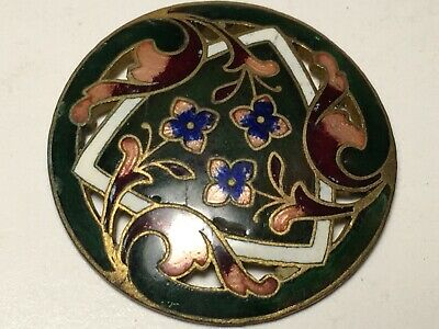 """Antique Button French Enamel Champleve Green Brown Pierced Brass Floral 1"""""""