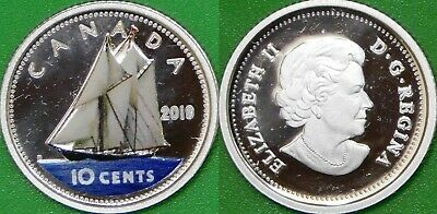 2019 Canada Paint Fine Silver Dime Graded as Proof From Original Set