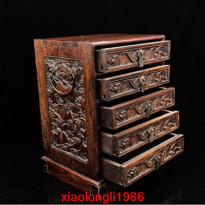 """11.68"""" China antique dynasty Rosewood carving Blessing Longevity Drawer cabinet"""
