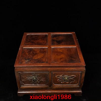 """12.4"""" China old antique Rosewood Ghost-face pattern Lockers"""
