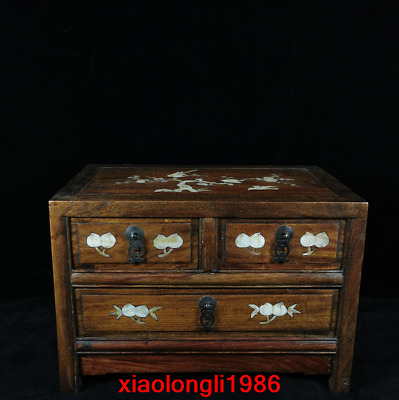 """15.2"""" China old antique Huanghua pear wood Inlaid shells Small Cabinet"""
